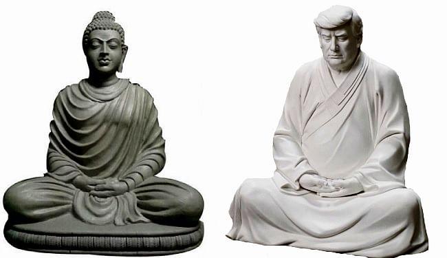 ऑनलाइन बिक रही बुद्ध की तरह बैठी अमेरिका के पूर्व राष्ट्रपति डोनाल्ड ट्रंप की मूर्ति