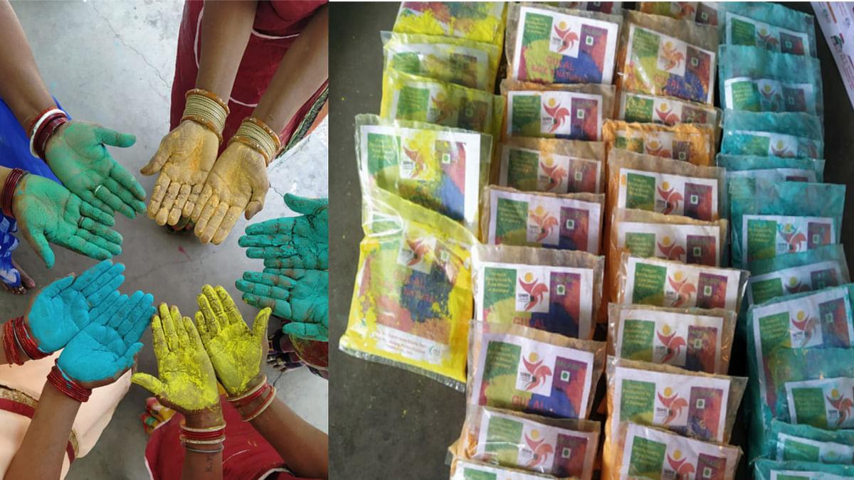 Jharkhand news : बाजारों में सजा सखी मंडल की दीदियों द्वारा तैयार पलाश ब्रांड का अबीर- गुलाल.
