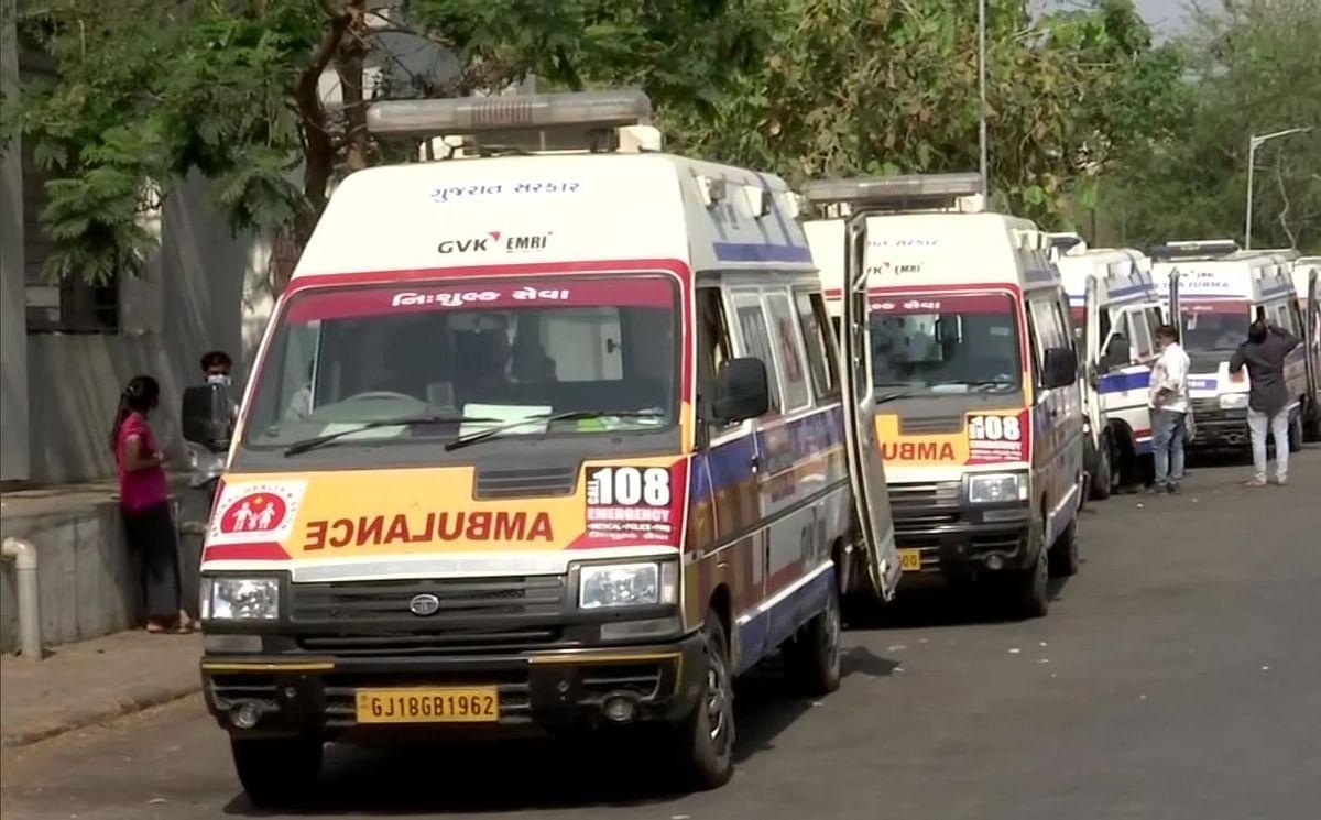 Coronavirus से गुजरात में बुरा हाल, अहमदाबाद  के सिविल हॉस्पिटल में लगी एंबुलेंस की कतार, Video Viral