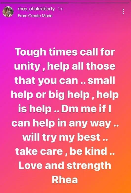 Rhea Chakraborty instagram screenshot