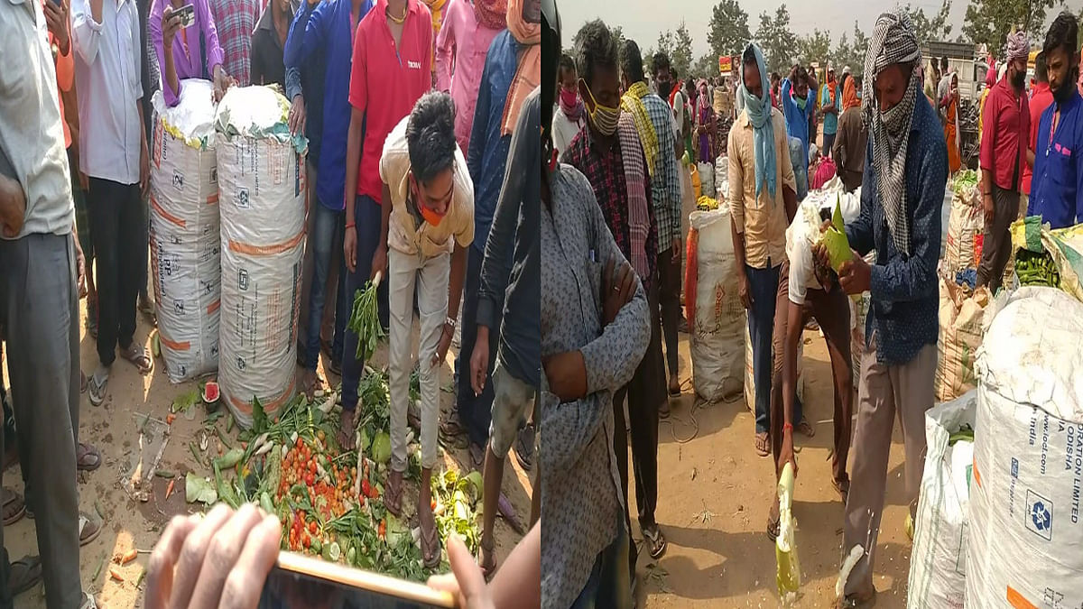 रामगढ़ के तिरला में कौड़ियों के मोल भी नहीं बिक रही सब्जियां, निराश किसानों ने सड़कों पर फेंकी सब्जियां, लाखों का नुकसान