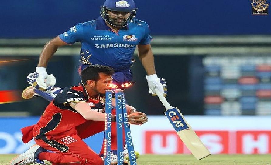 MI vs RCB : कोहली ने किया रन आउट तो भड़क उठे रोहित शर्मा, जमाया सीजन का पहला चौका और छक्का