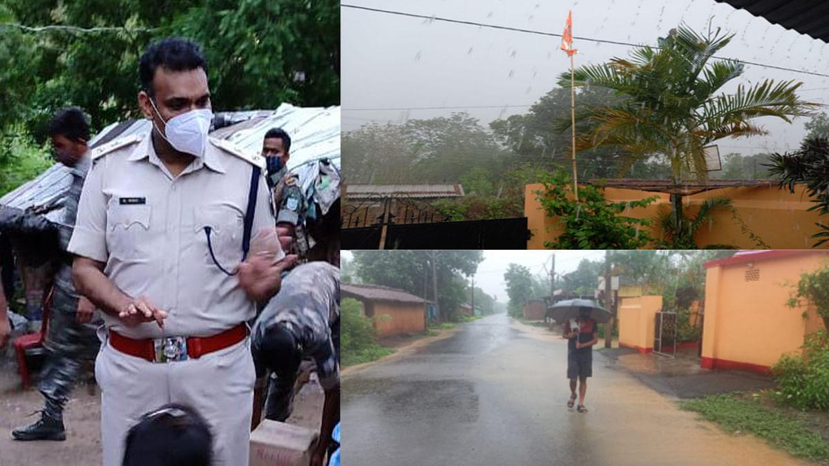 Jharkhand news : चक्रवाती तूफान से बचने के लिए लोगों को सर्तक रहने की अपील करते सरायकेला एसपी.