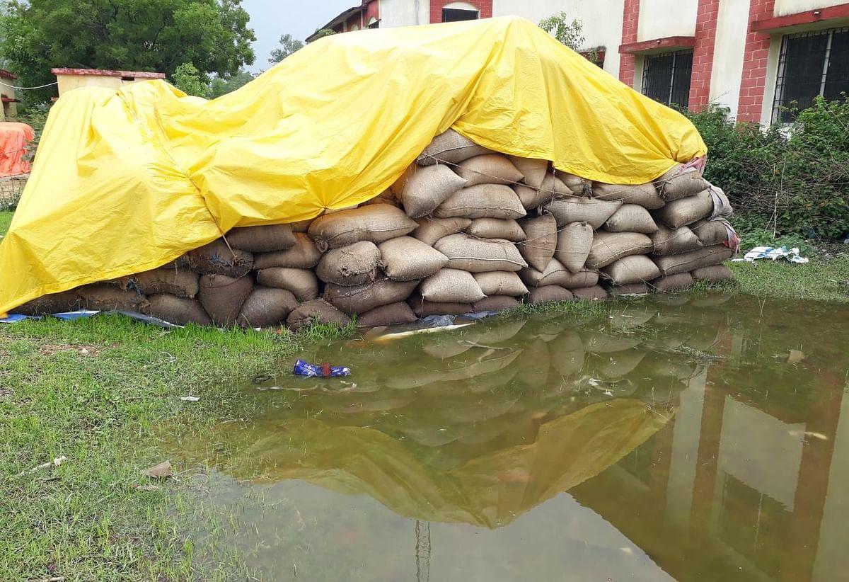 झारखंड के बोकारो व पलामू के बाद चतरा में FCI की लापरवाही, बारिश में सड़ रहा खुले में रखा 2000 बोरा धान