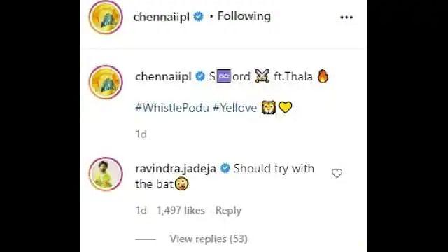 धौनी के तलवारबाजी वाले वीडियो पर रविंद्र जडेजा ने कप्तान को एक्शन के लिए दी ये सलाह, कमेंट हुआ वायरल