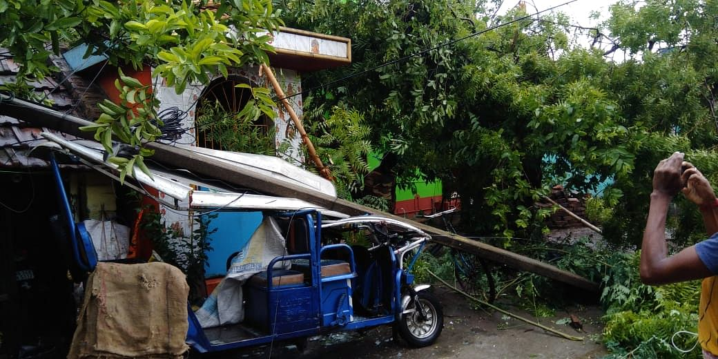 ई-रिक्शा पर गिरा पोल