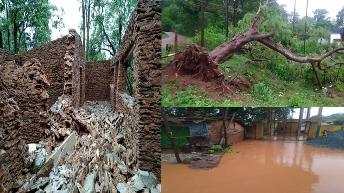 Cyclone Yaas Update News : सारंडा और लौहांचल क्षेत्र में तेज बारिश से कच्चे मकान गिरे, बिजली रही गुल