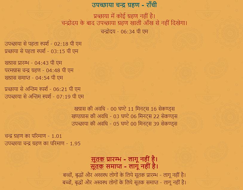 Chandra Grahan Timing, Jharkhand, Ranchi