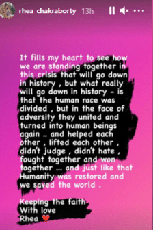 rhea instagram story screenshot