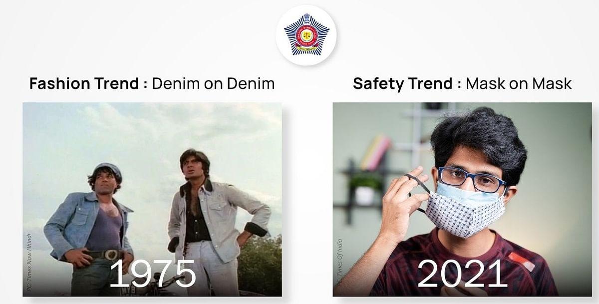 मुंबई पुलिस ने फिल्म शोले के गब्बर की स्टाइल में दी सीख, दो- दो मास्क पहनें