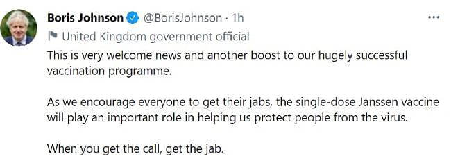 प्रधानमंत्री बोरिस जॉनसन ने ट्वीट कर दी जानकारी