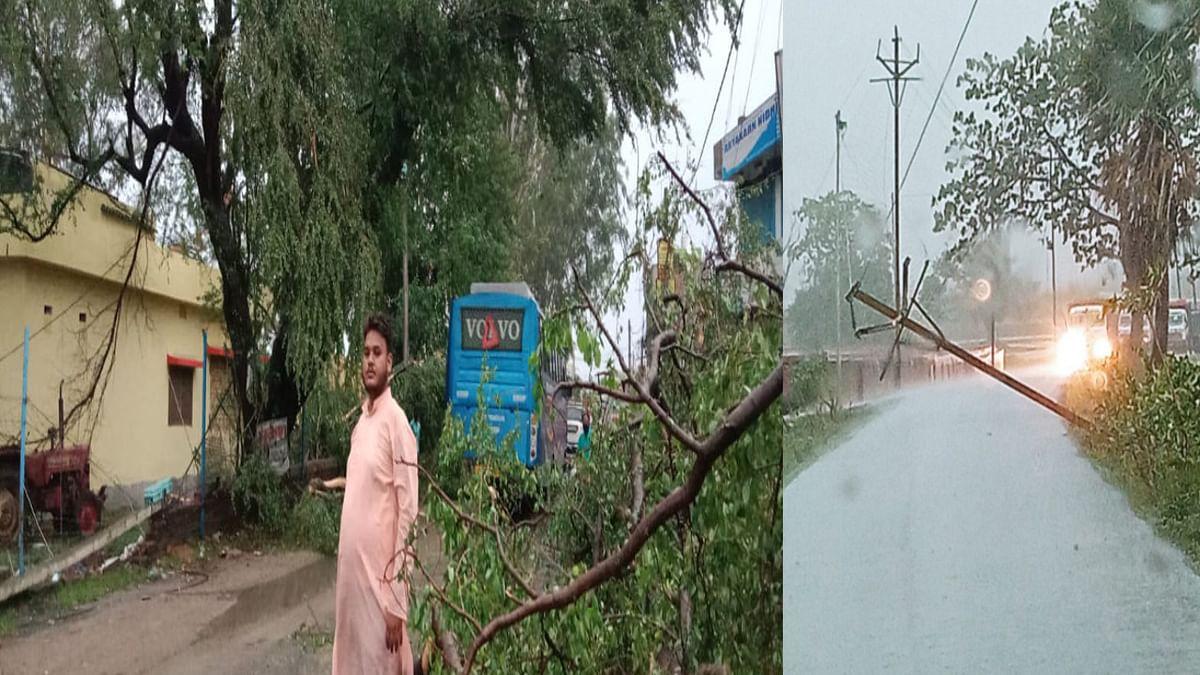 चक्रवाती तूफान 'ताऊ ते' का हजारीबाग के बड़कागांव में दिखा असर, बिजली के खंभे और पेड़ उखड़े