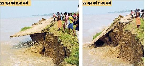 भागलपुर : गंगा में समा गया 200 फुट बाबूपुर संतनगर पथ, कई गांव आ सकते हैं कटाव की चपेट में