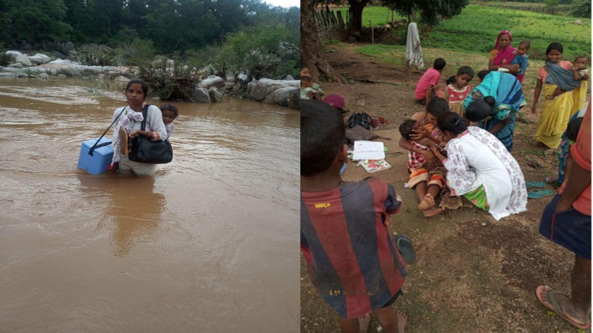 पीठ पर बेटी, हाथ में वैक्सीन कंटेनर लिए नदी पार कर बच्चों के टीकाकरण में जुटी लातेहार की ANM मानती कुमारी