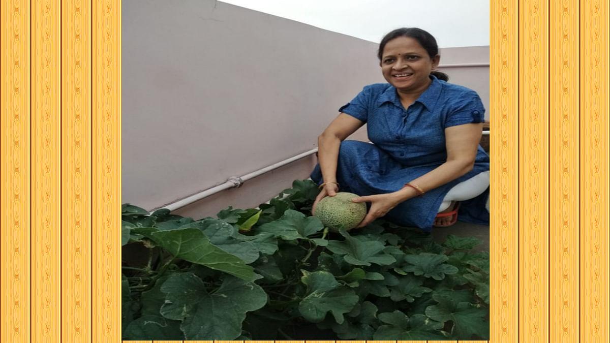 Jharkhand News : अपने किचन गार्डन में जैविक खेती कर रही रंजना अग्रवाल.