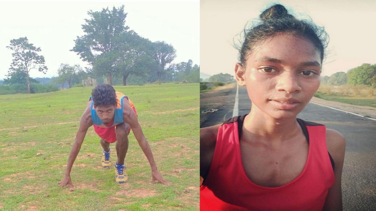 Jharkhand news : हर दिन प्रैक्टिस में पसीना बहा रहे एथलीट आशीष कुजूर और सुप्रीति कच्छप.