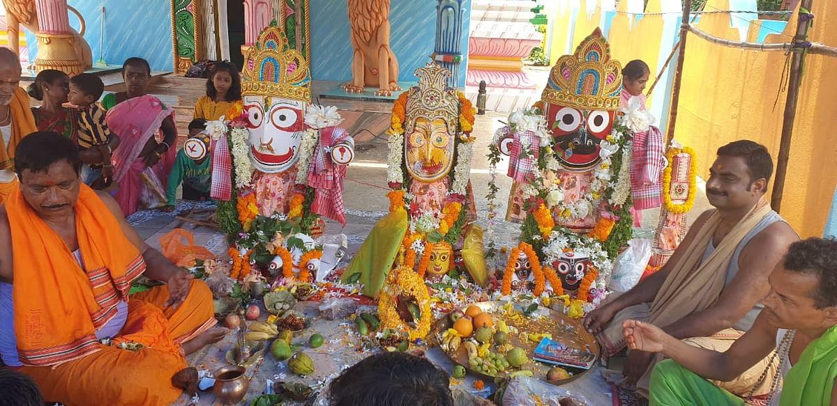 हरिभंजा मंदिर में भगवान जगन्नाथ की हुई पूजा