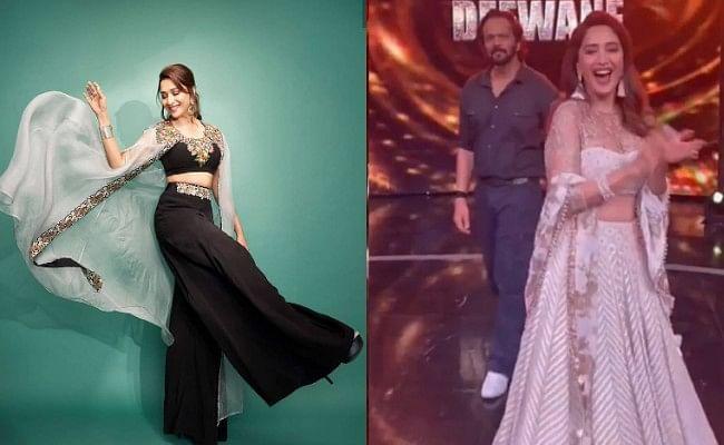 Madhuri Dixit ने Dance Deewane 3 के सेट पर दिखाया 'Singham thumka', रोहित शेट्टी हुए इंप्रेस