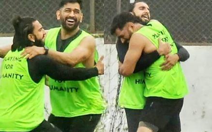 फुटबॉल मैदान पर MS Dhoni को गले लगाते दिखे रणवीर सिंह, फैंस बोले- माही के जैसा दूसरा... VIDEO