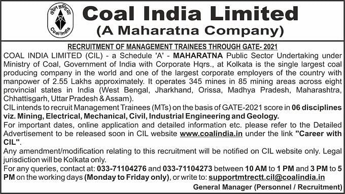 Coal India Recruitment 2021 : Coal India में इन पदों पर होगी अफसरों की बहाली, ऐसे करें आवेदन