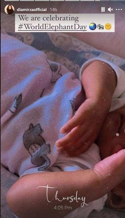 दीया मिर्जा ने अपने सोशल मीडिया पर अपने बेटे  अव्यान की एक फोटो शेयर की है