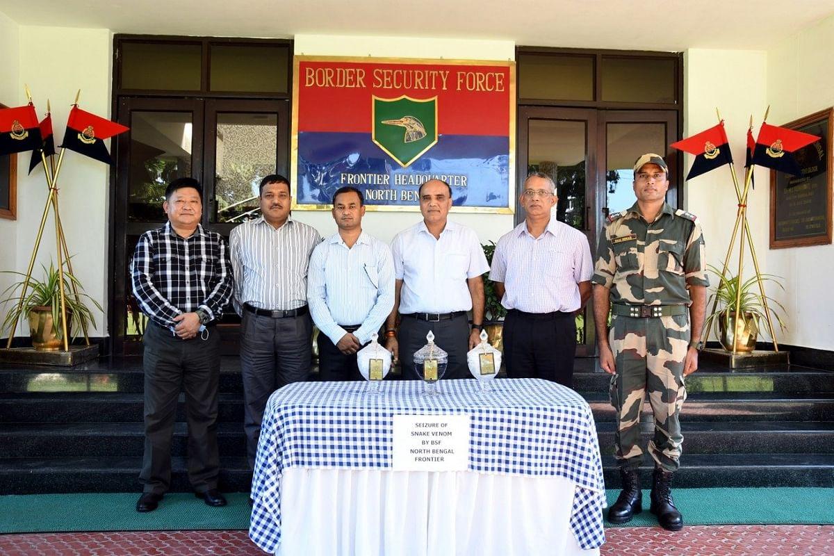 भारत-बांग्लादेश सीमा पर सांप के जहर से भरे तीन जार जब्त