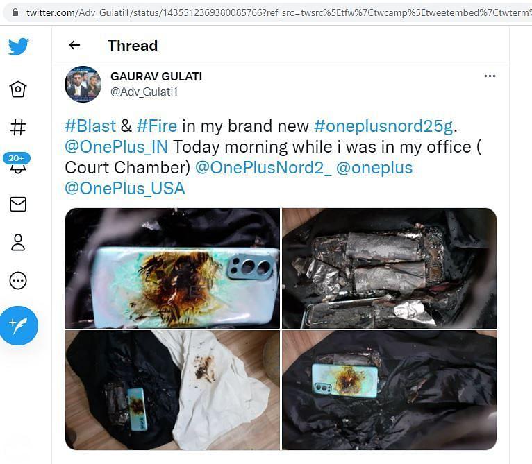 OnePlus Nord 2 5G smartphone blast