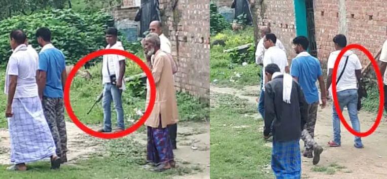 हथियार लेकर पत्नी के लिए वोट मांग रहे मुखिया प्रत्याशी के पति! सोशल मीडिया पर वायरल तसवीर के जरिये दावा