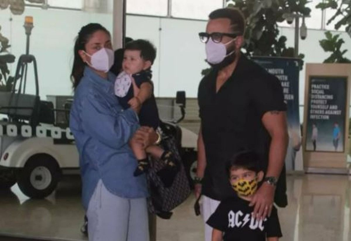 करीना और सैफ के साथ एयरपोर्ट पर हुए स्पॉट छोटे नवाब जेह, देखें PHOTOS