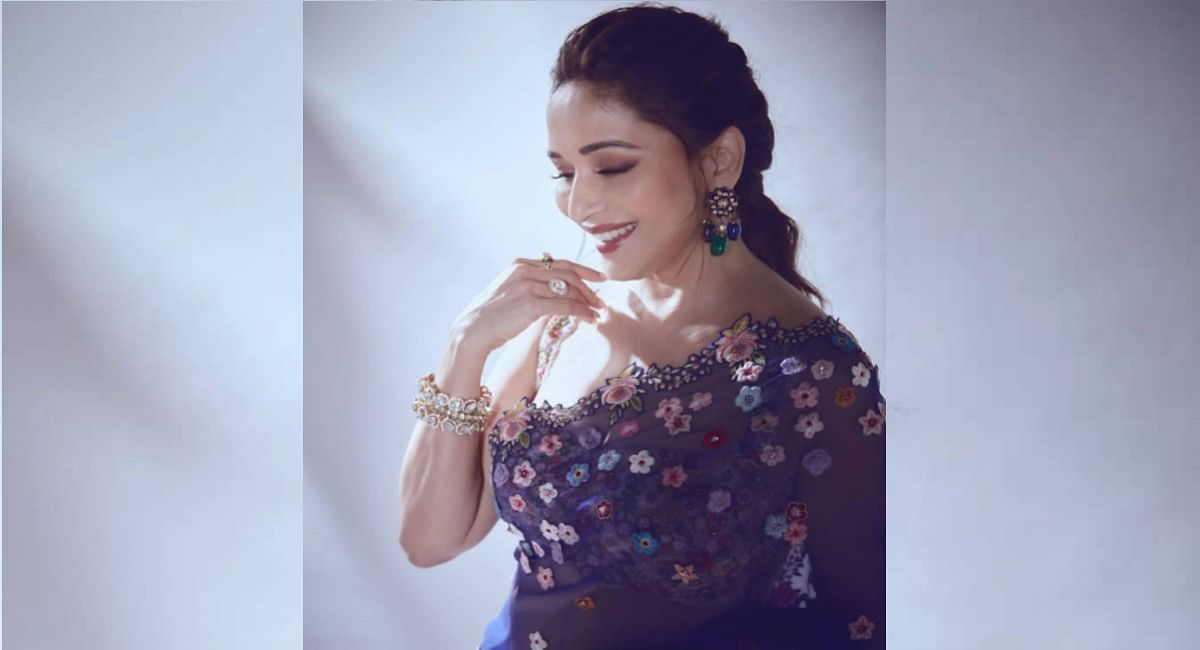 Madhuri Dixit latest photos in Floral saree of ₹1,79,000