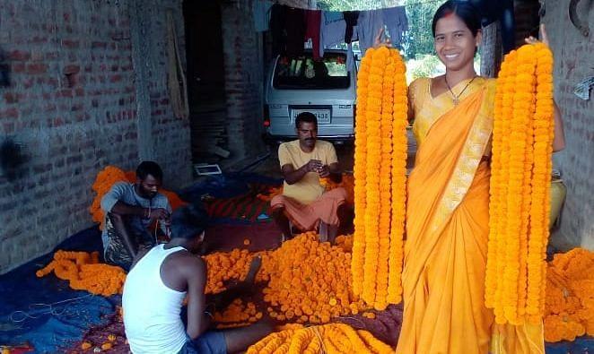 नक्सलियों के गढ़ रहे खूंटी में अब महिलाएं कर रहीं गेंदा फूल की खेती, दिवाली व छठ को लेकर है  अच्छी डिमांड