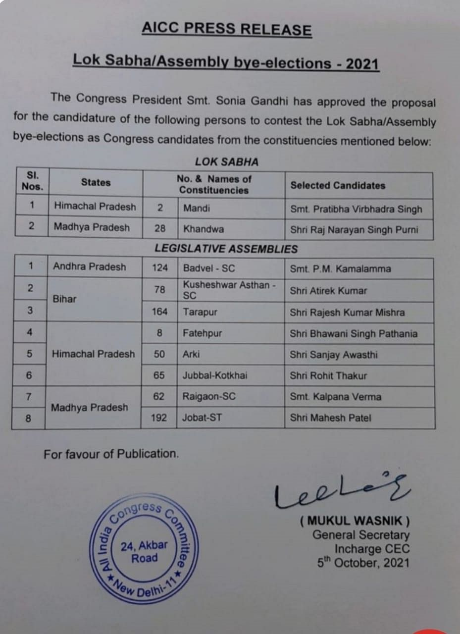 Bihar Assembly by-elections 2021