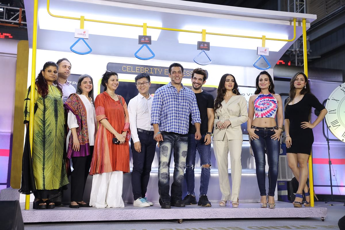 Shital Iyer, Abhishek Rege, Nina Elavia Jaipuria, Manisha Sharma, Jerome Chen with Salman Khan, Arjun Bijlani, Sana Khan, Ameesha Patel and Puja Banerjee at the launch of COLORS' Bigg BossJPG