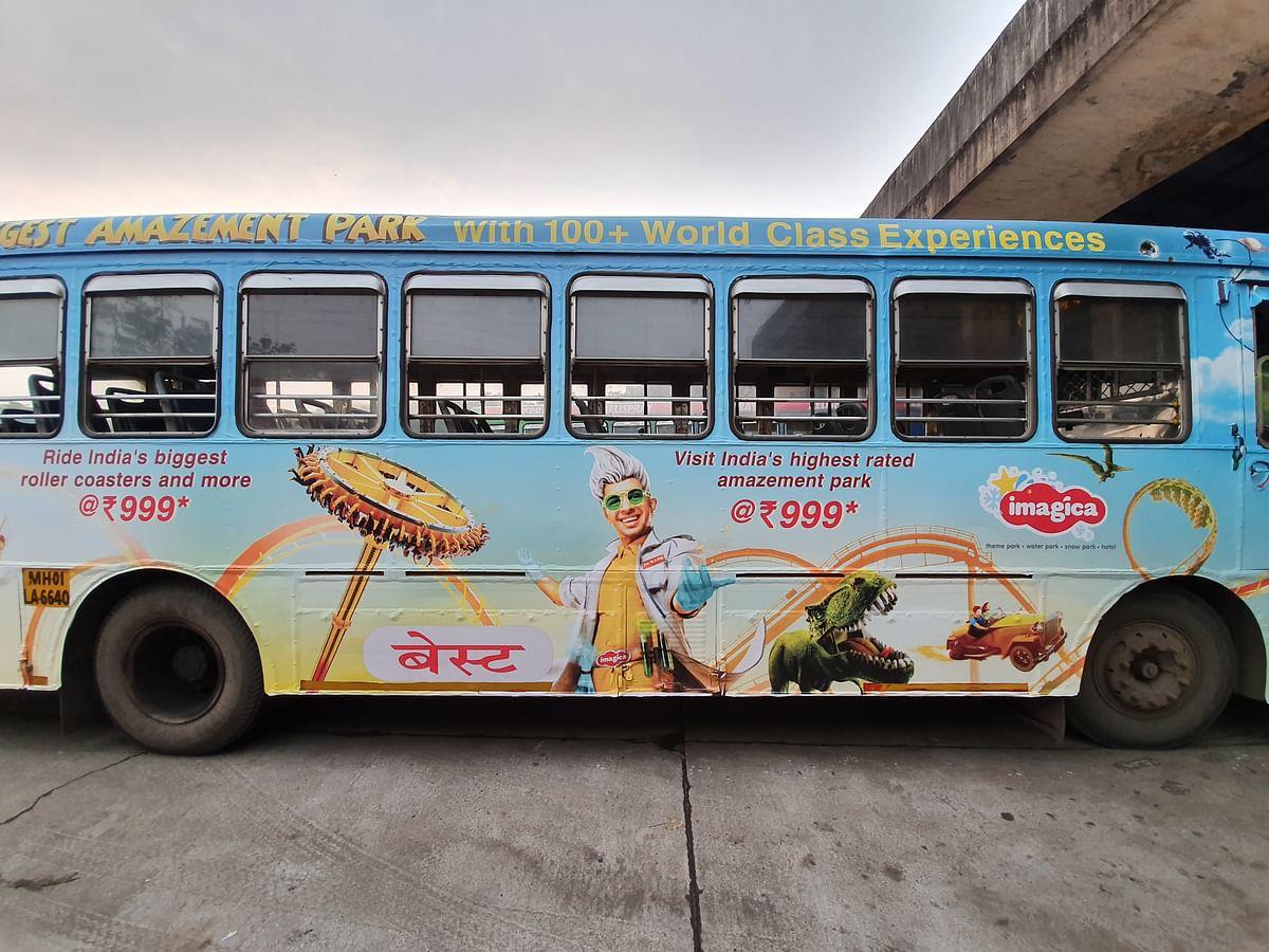 Imagica's ads on buses in Mumbai