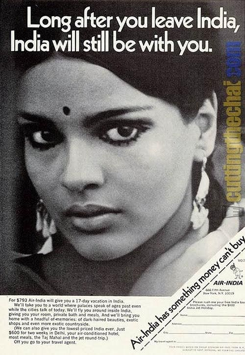 Zeenat Aman modelled for Air India in the 1970s
