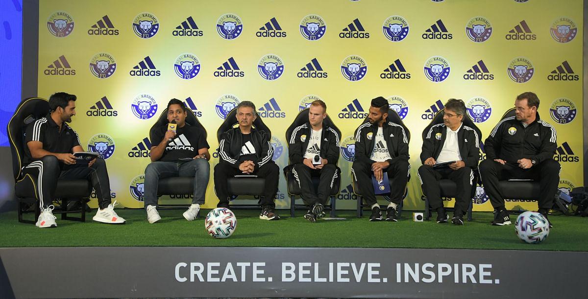 Left to right:  Sharad Singla (brand director), Manish Sapra (senior brand director), Kallum Higginbotham (player), Muhammad Hammad (player), Sandeep Chattoo (co-owner RKFC), David Robertson (coach)