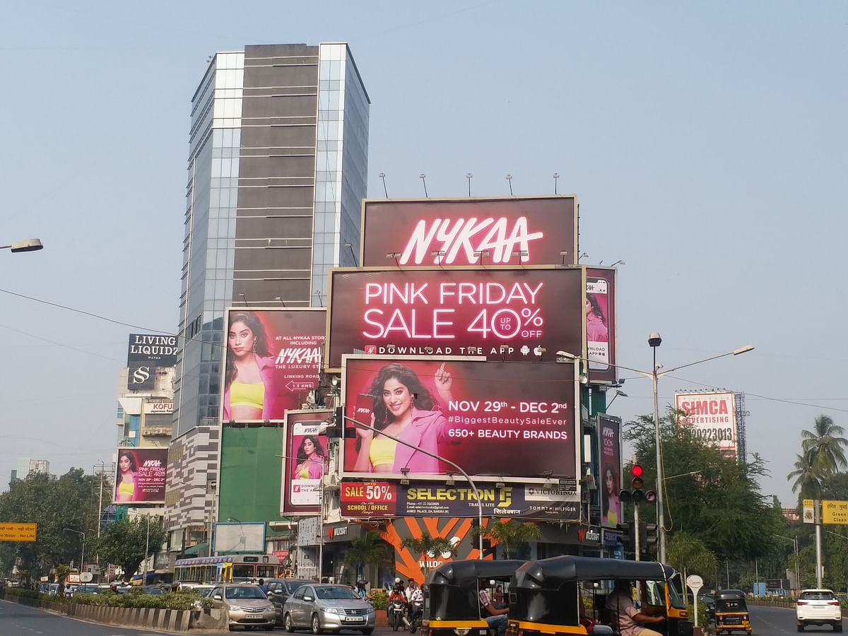 Nykaa's outdoor ads for the Pink Friday sale in Bandra, Mumbai