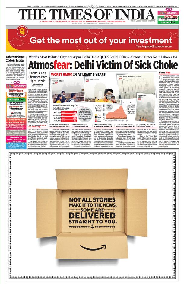 Page 1 ad on TOI Delhi