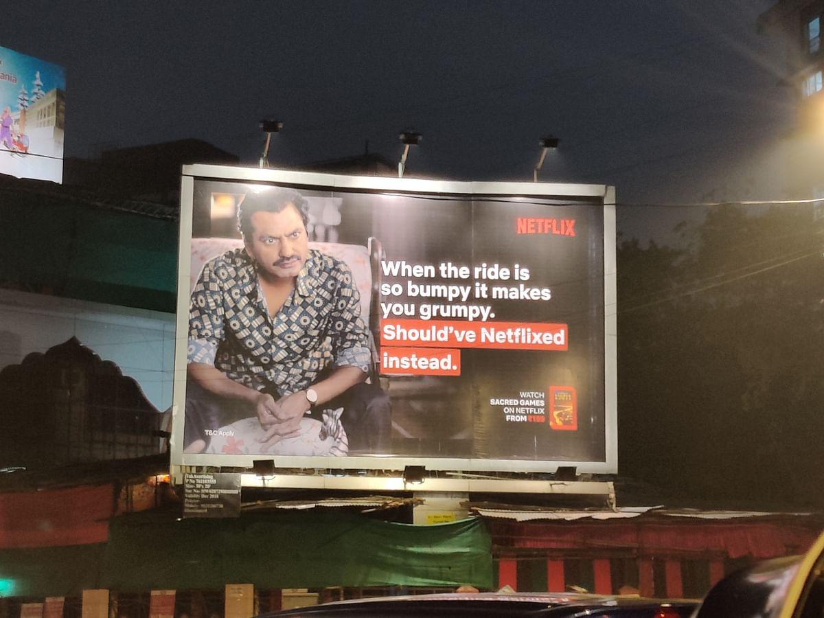 A Netflix billboard featuring Nawazuddin Siddiqui