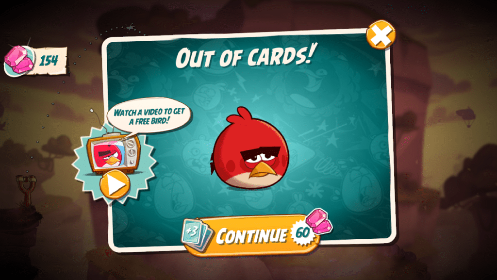 Angry Bird in-game reward ad