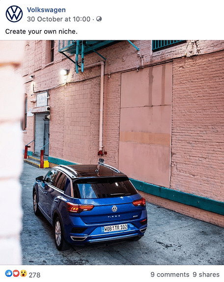 A social media post from Volkswagen in 2019