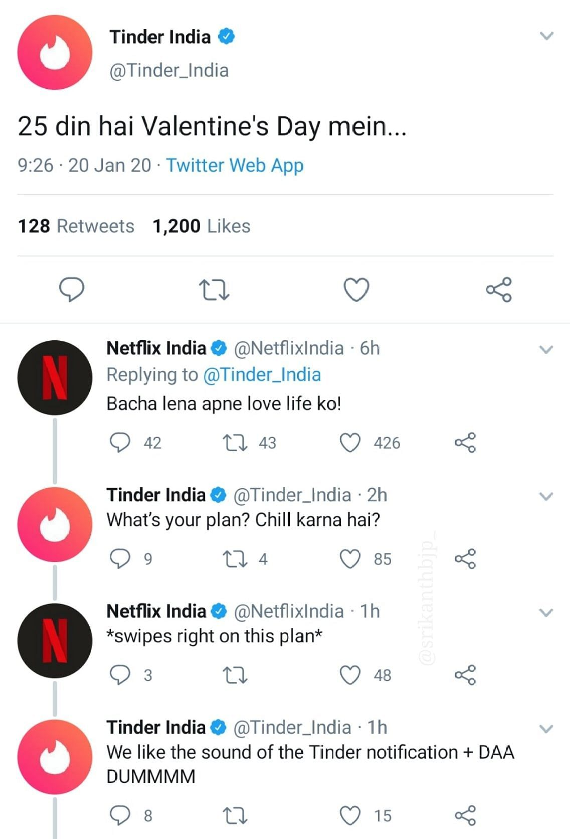 Tinder and Netflix get the ball rolling in a Twitter exchange...