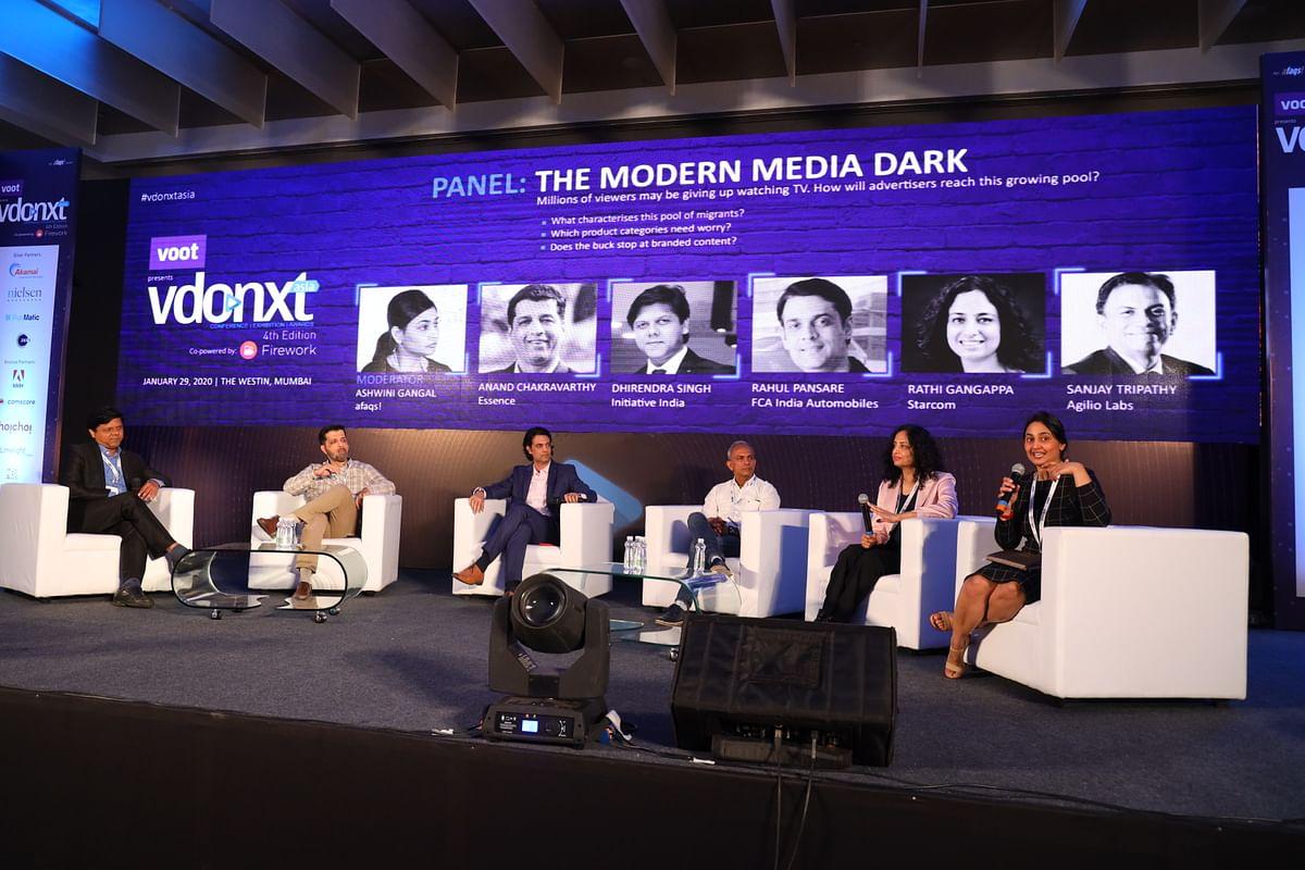 L-R: Panelists Dhirendra Singh, Anand Chakravarthy, Rahul Pansare, Sanjay Tripathy, Rathi Gangappa, with moderator Ashwini Gangal...
