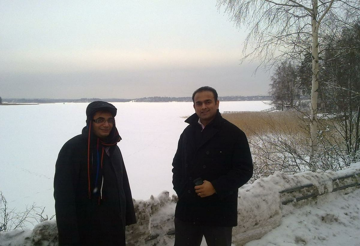 Vishal Gondal (L) and Samir Bangara in Finland for a business meeting with Nokia in January , 2010.