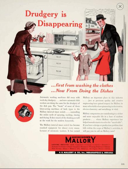 1950 Mallory dishwasher ad