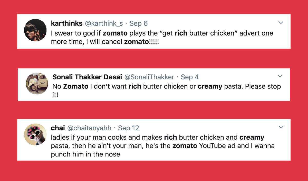 Zomato's creative brief for users miffed with 'rich butter chicken' and 'creamy pasta' ads