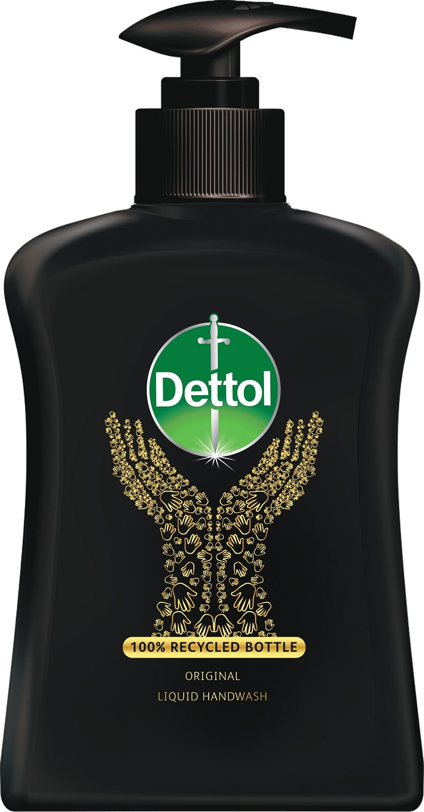 The new recycled packaging of Dettol Handwash