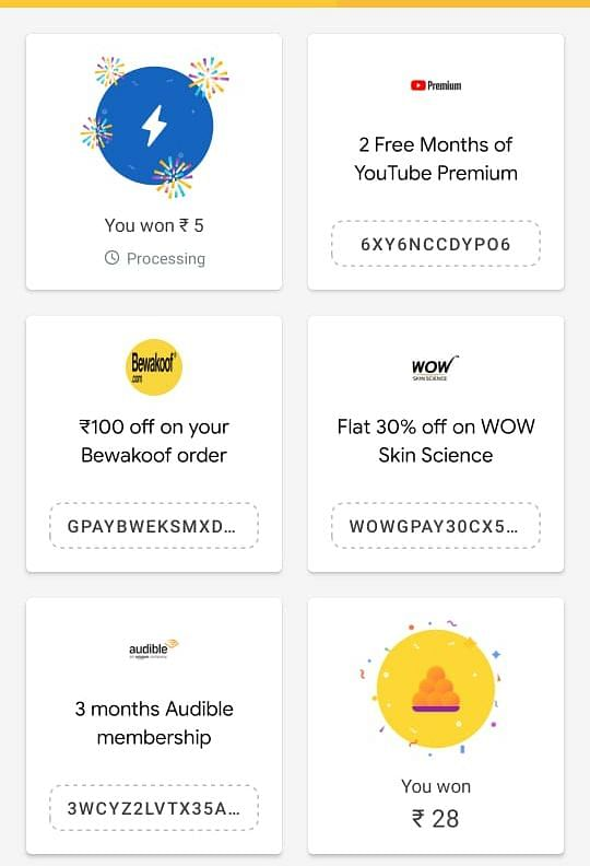 A glimpse of the rewards page on GPay
