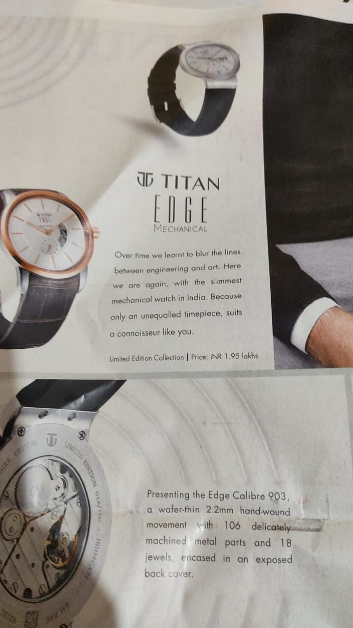 Watch the space: When TOI and ET carried cover page ads for Titan Edge Mechanical and BT featured Tissot