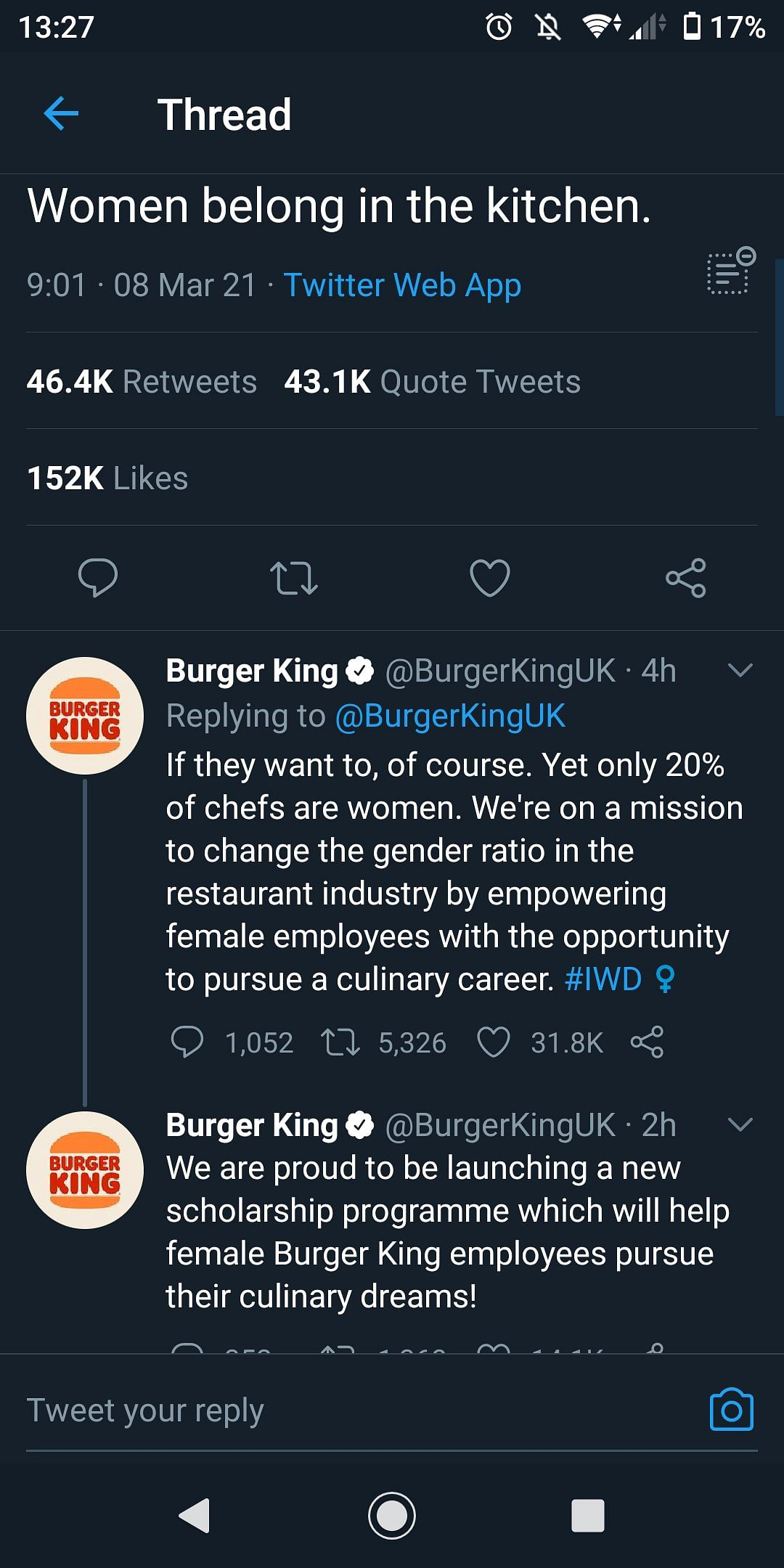 Burger King UK apologises after its Women's Day tweet is dubbed sexist and tone-deaf